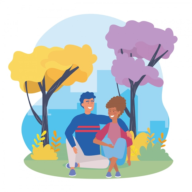 Couple garçons et fille avec des vêtements décontractés Vecteur gratuit