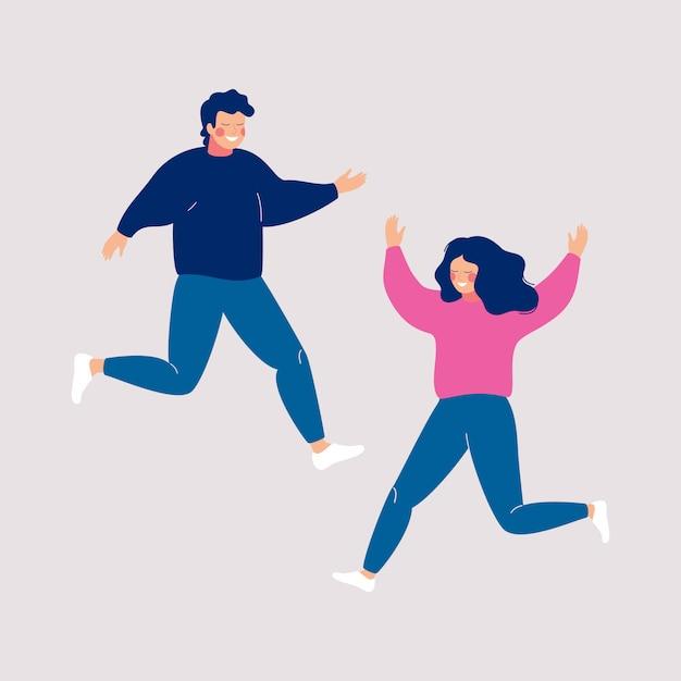 Couple de gens heureux sautant avec les mains levées sur une lumière. Vecteur Premium