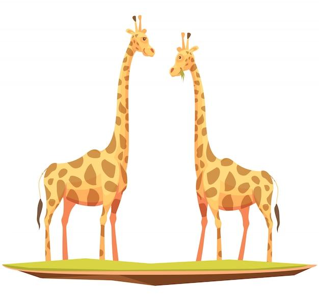 Couple de girafes Vecteur gratuit