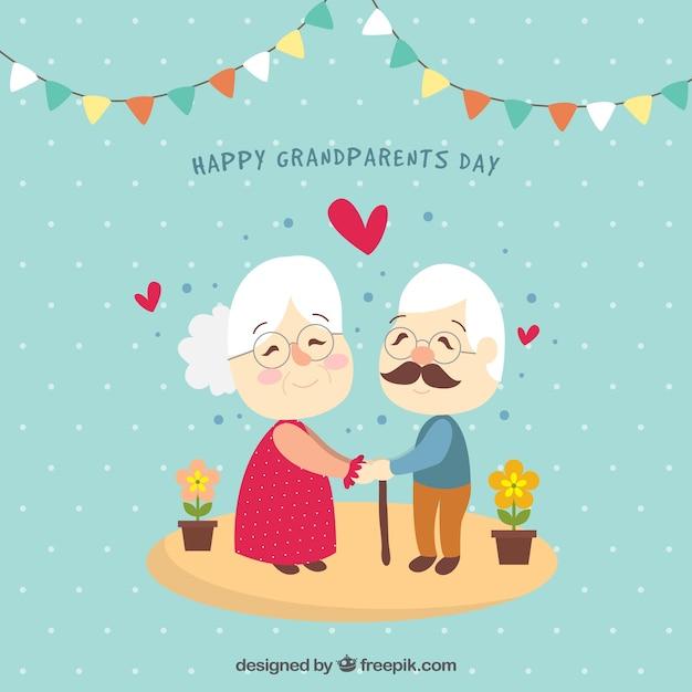 Couple Grand-parents Amoureux Vecteur gratuit
