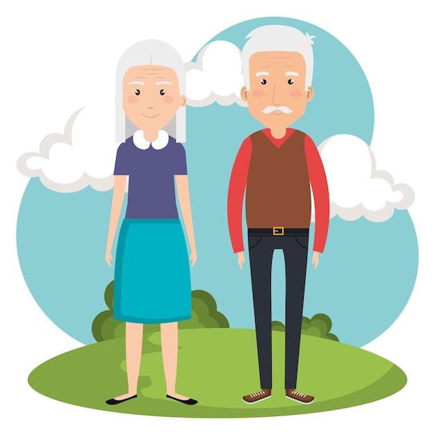 Couple De Grands-parents Dans Les Avatars Du Parc Vecteur Premium