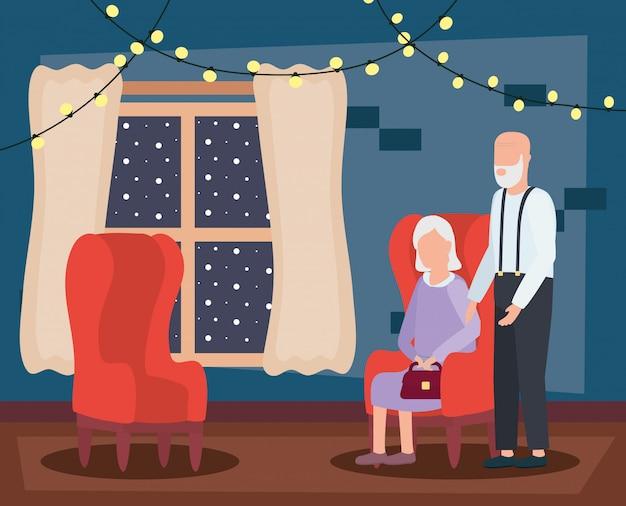 Couple de grands-parents dans la salle de séjour avec décoration de noël Vecteur gratuit