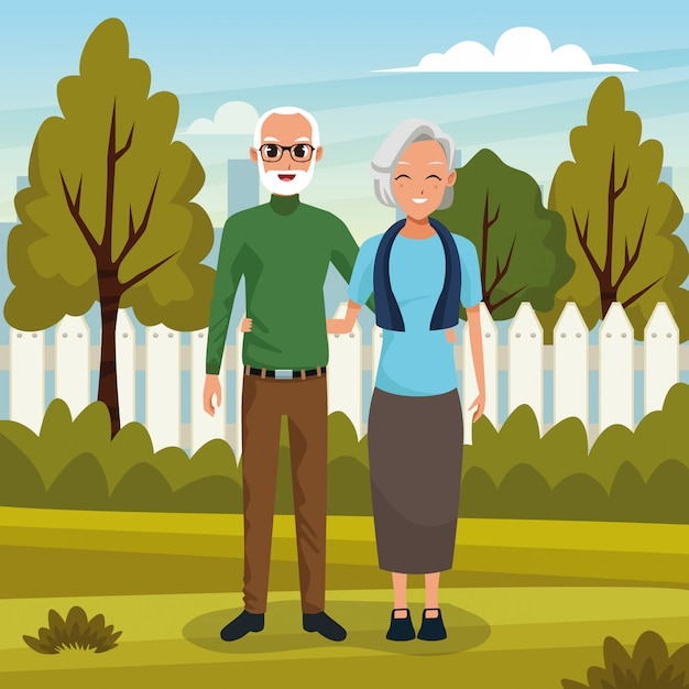 Couple De Grands-parents Souriant Dans La Bande Dessinée Nature Vecteur gratuit