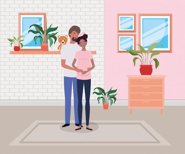 Couple de grossesse dans la maison avec tiroir Vecteur gratuit