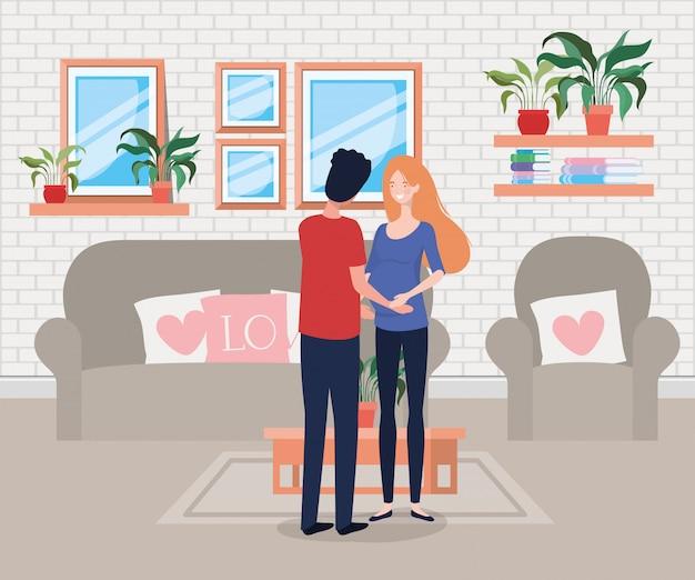 Couple de grossesse en scène de salon Vecteur gratuit