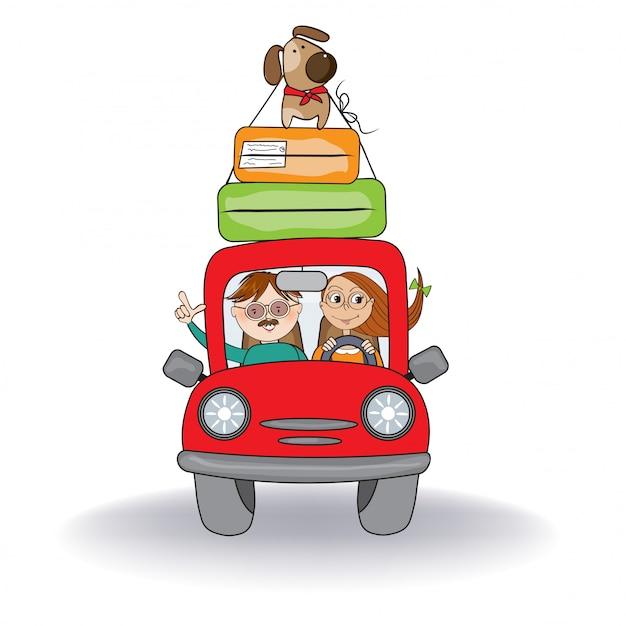 Couple heureux avec leur chien voyageant avec une drôle de voiture rouge. vacances d'été Vecteur Premium