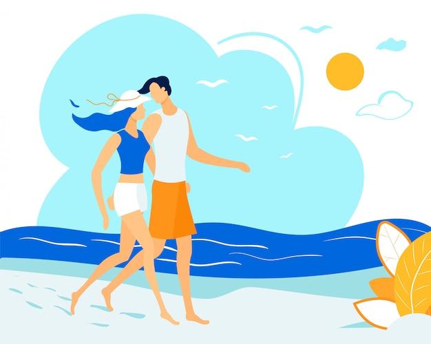 Couple heureux marchant sur la plage, étreignant, relations Vecteur Premium