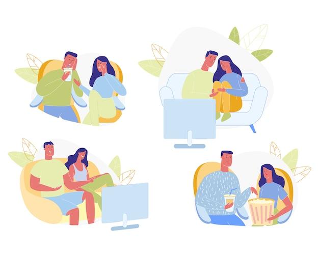 Couple heureux temps de loisir Vecteur Premium