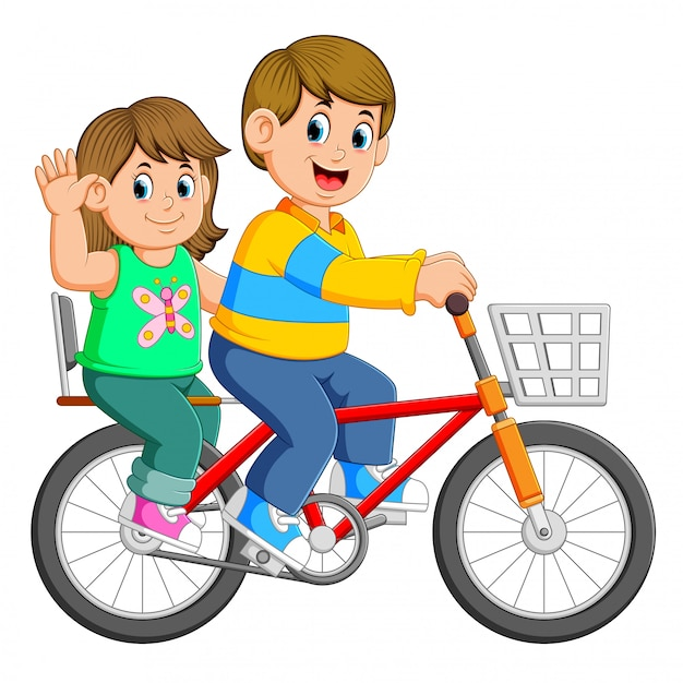Couple Heureux à Vélo Vecteur Premium