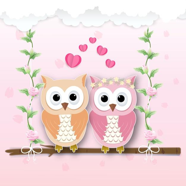 Couple hibou et coeur et lierre de roses Vecteur Premium