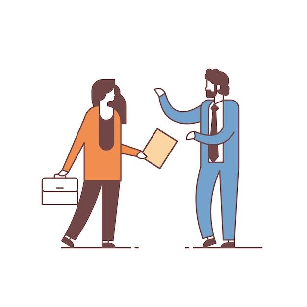 Couple Homme Femme Discuter Discussion Réunion Concept Communication Hommes Mâle Personnage Pleine Longueur Isolé Vecteur Premium