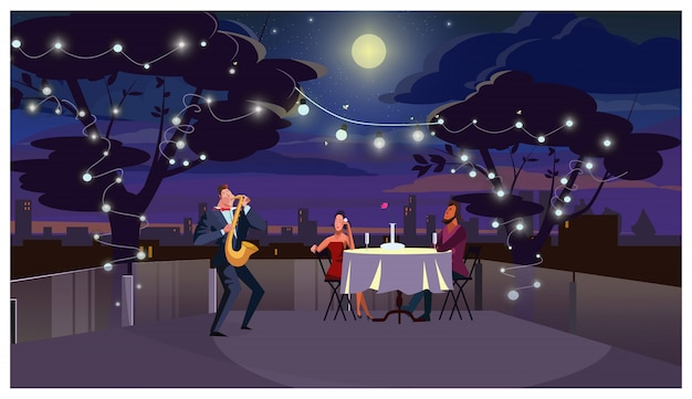 Couple à l'illustration en plein air dîner romantique Vecteur gratuit