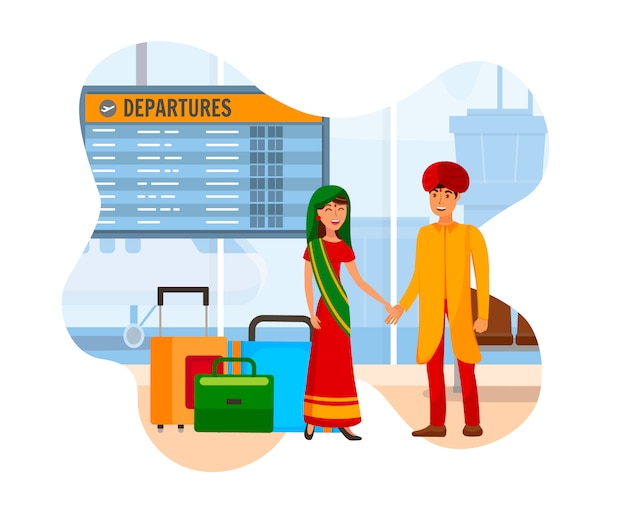 Couple indien à l'aéroport couleur plate illustration Vecteur Premium