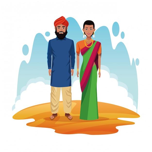 Couple Indien De Dessin Animé De L'inde Vecteur gratuit