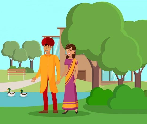 Couple indien marchant dans le parc vector illustration Vecteur Premium