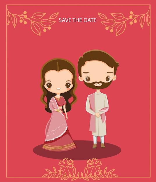 Couple indien mignon de bande dessinée pour la carte d'invitations de mariage Vecteur Premium