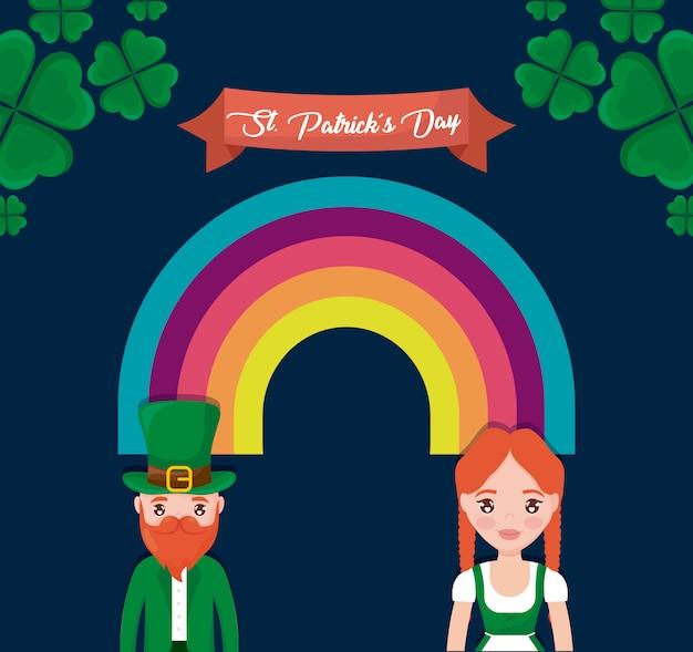 Couple irlandais avec arc-en-ciel du jour st patrick Vecteur Premium