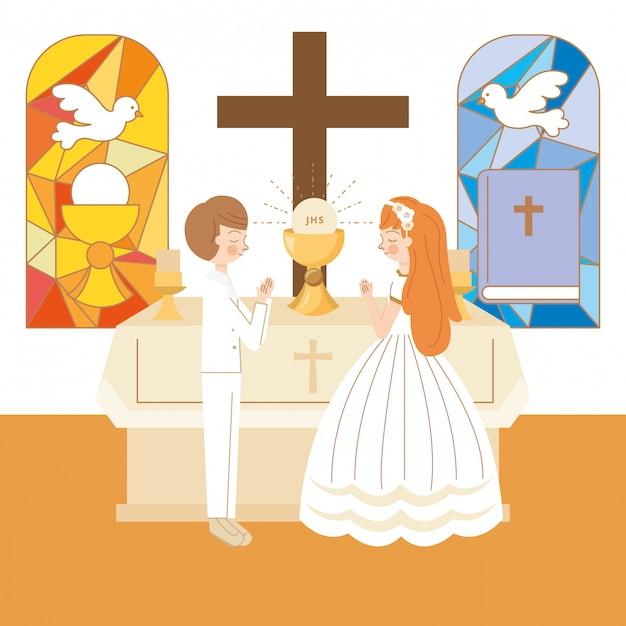 Couple Avec Jésus Eucahrist Vecteur Premium