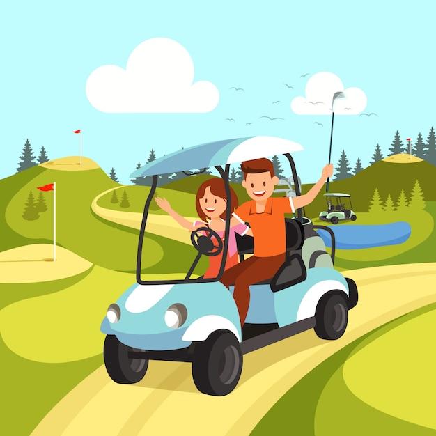 Couple de jeune homme et femme conduisant une voiturette de golf. Vecteur Premium