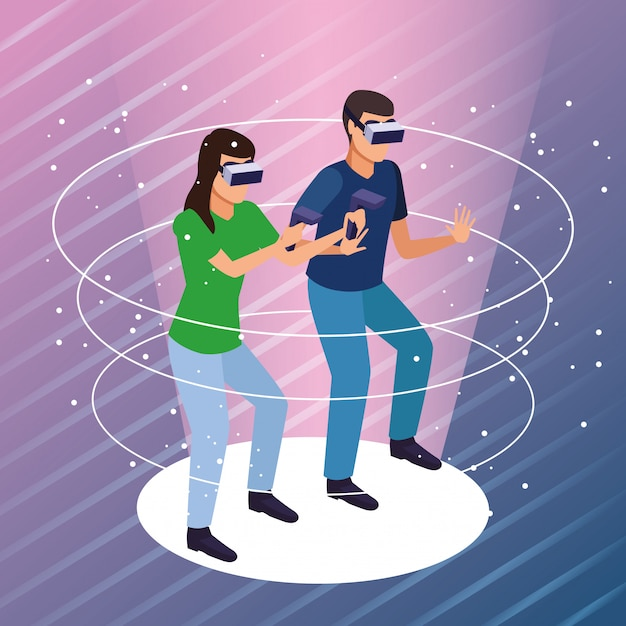Couple jouant avec la réalité virtuelle Vecteur gratuit