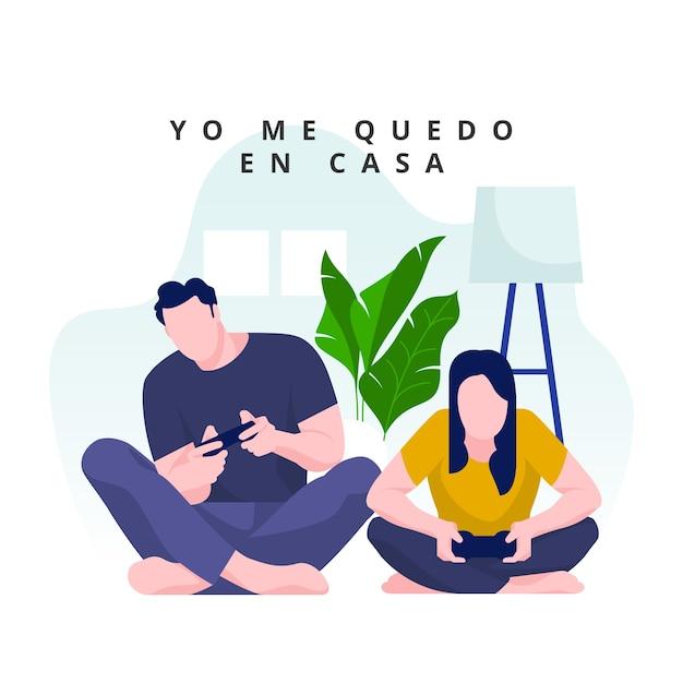 Couple, Jouer, Jeux Vidéo, Chez Soi Vecteur gratuit