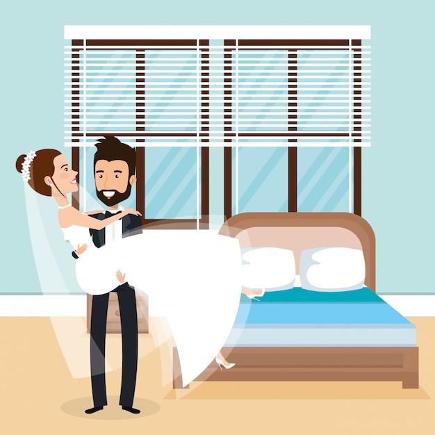 Couple Juste Marié Dans La Chambre Vecteur gratuit