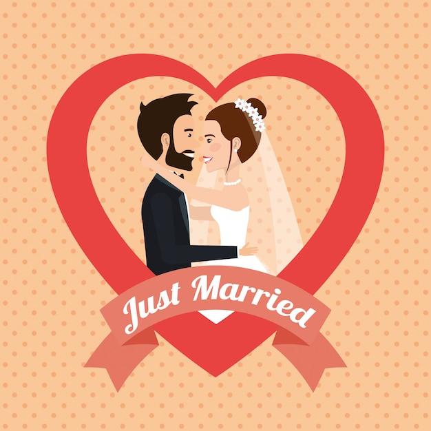 Couple juste marié embrasser des personnages d'avatars Vecteur gratuit