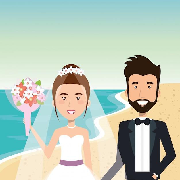 Couple Juste Marié Sur La Plage Vecteur gratuit