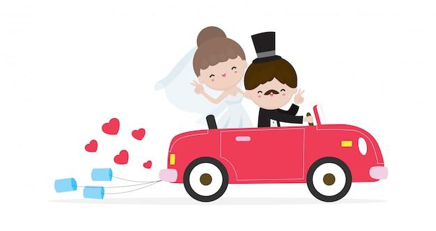 Couple Juste Marié En Voiture De Mariage, Mariée Et Le Marié Sur Un Roadtrip En Voiture Après La Cérémonie De Mariage, Dessin Animé Marié Design De Personnage Isolé Sur Fond Blanc Illustration. Vecteur Premium