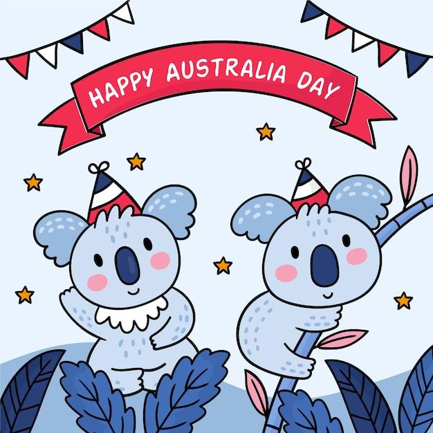 Couple De Koala Mignon Joyeux Jour De L'australie Vecteur gratuit