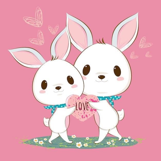 Couple de lapin mignon Vecteur Premium