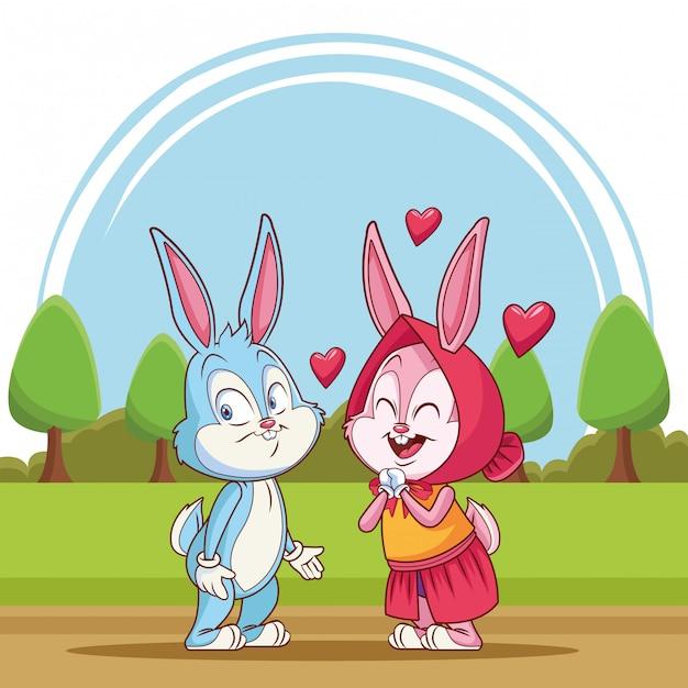 Couple de lapins amoureux Vecteur Premium