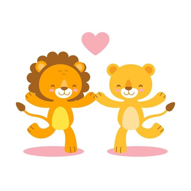 Couple De Lions Mignon Saint Valentin Vecteur gratuit