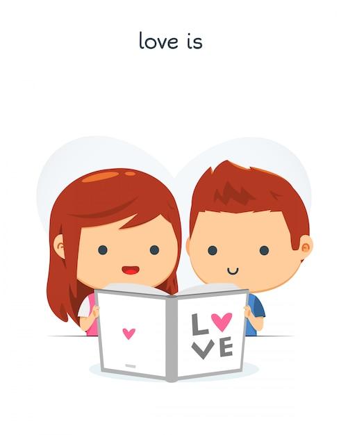 Un couple a lu un livre ensemble Vecteur Premium