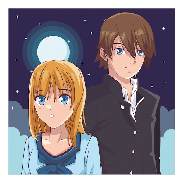Couple manga anime Vecteur Premium