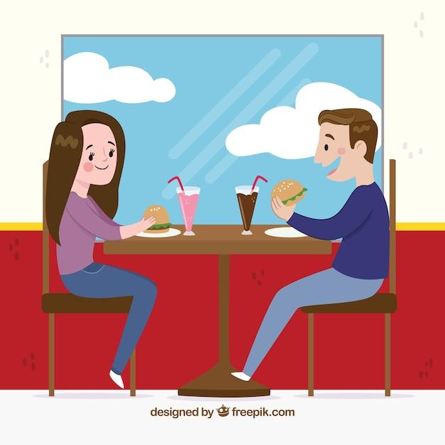 Couple, Manger, Scène, Restaurant   Vecteur Gratuite