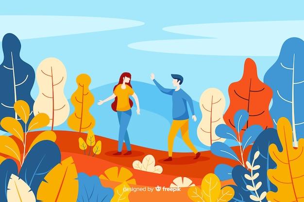 Couple, marche, automne, parc Vecteur gratuit