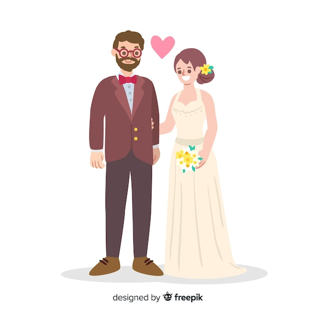 Couple de mariage amoureux dessinés à la main Vecteur gratuit