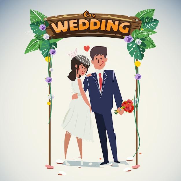 Couple De Mariage Avec Arc De Mariage Jungle Vecteur Premium