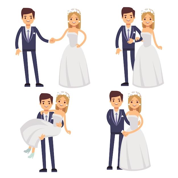 Couple de mariage de bande dessinée. je viens de marier des personnages de vecteur. Vecteur Premium
