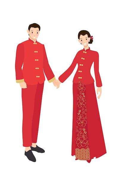 Couple de mariage chinois en robe rouge traditionnelle, tenant par la main Vecteur Premium