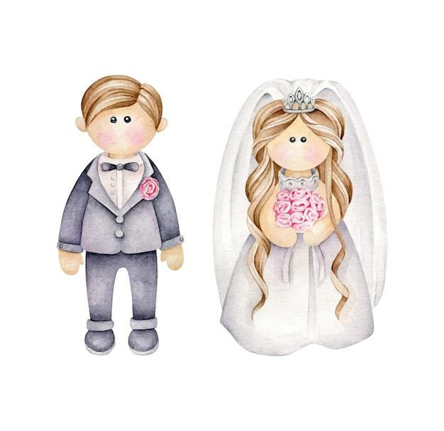 Couple De Mariage De Dessin Animé Vecteur Premium