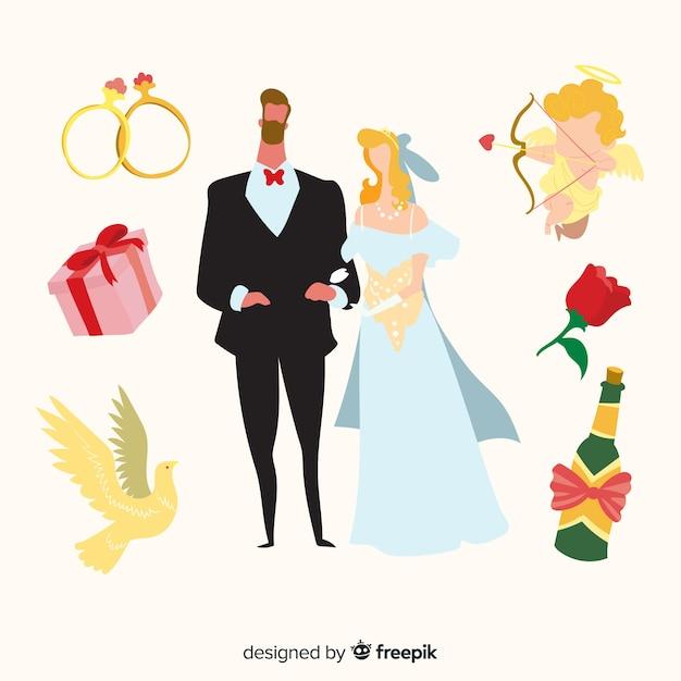 Couple de mariage dessiné à la main avec des éléments Vecteur gratuit