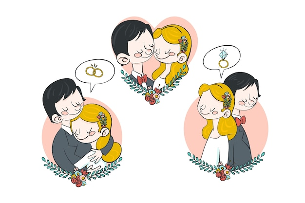 Couple De Mariage Dessiné à La Main étreignant Vecteur gratuit