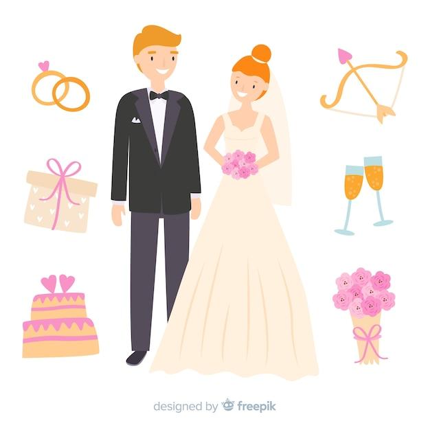 Couple de mariage dessiné à la main avec des ornements Vecteur gratuit