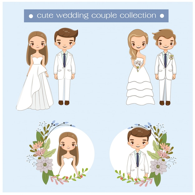 Couple de mariage mignon dans la collection de robe de mariage Vecteur Premium