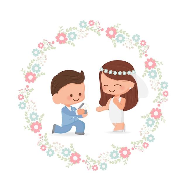 Couple De Mariage Mignon Dans Un Style Plat De Couronne De Fleurs Pour La Saint-valentin Ou La Carte De Mariage Vecteur Premium