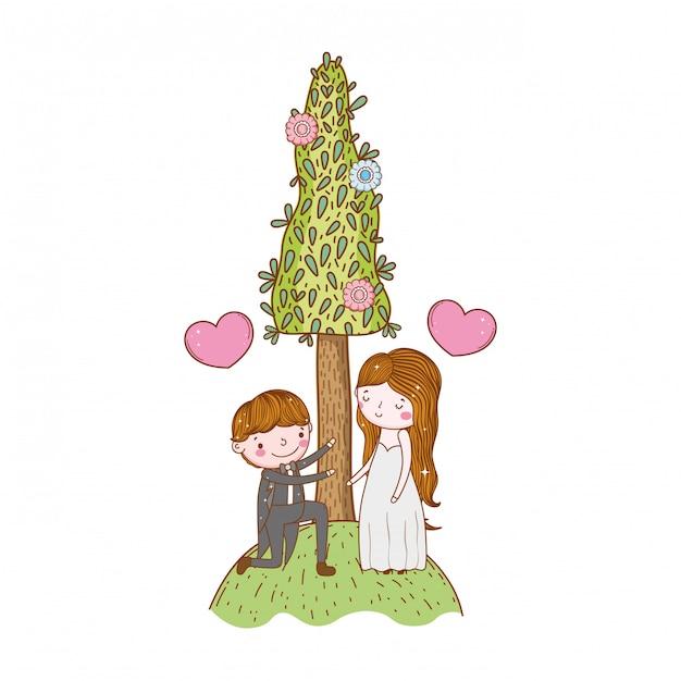 Couple Mariage Mignon Dessin Animé Télécharger Des