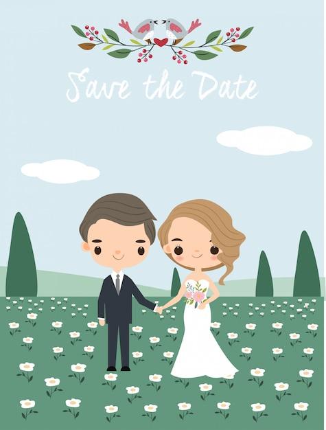 Couple de mariage mignon pour carte d'invitations Vecteur Premium