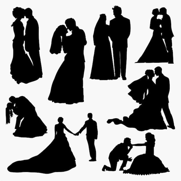 Couple de mariage Vecteur Premium